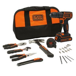 Black and Decker - 18V Lithiumion Drill driver with 400mA charger and 1 battery with Hand Tools in Soft bag - BDCDC18HTSA